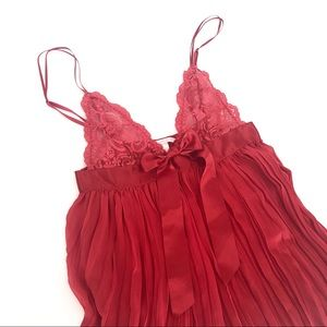 Victoria's Secret ruby red pleated cami negligee